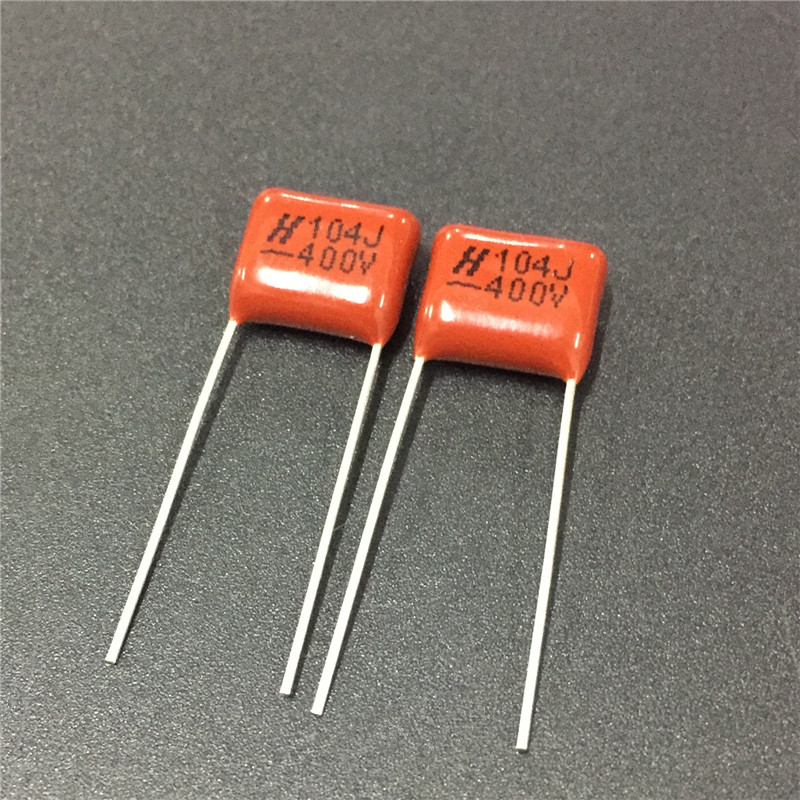 50pcs CBB Capacitor 104 400V 104J 0.1uF 100nF P10 CL21 Metallized Polypropylene Film Capacitor