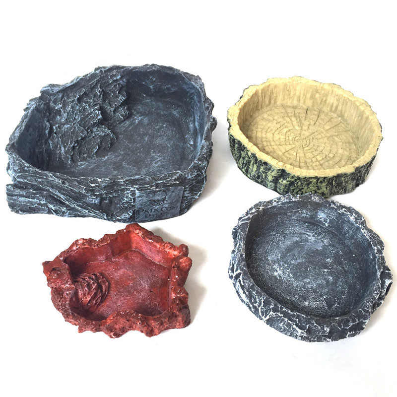 Reptile Feeding Bowl Pet Amphibians Tortoise Lizard Food Feeder Water Drinker Dish Dispenser Holder Feeding Accessory
