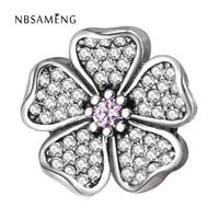 Authentic 925 Sterling Silver Bead Charm Sparkling Apple Blossom Beads Fit Original Pandora Bracelets & Bangles DIY Jewelry