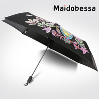 New Creative Water Flowering Color Change Owl Umbrella Three Folding Sunscreen Vinyl Colorful Sunny And Rainy