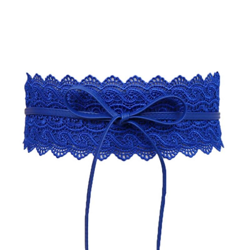 Faux Leather Lace Wide Belt Female Bowknot Weaving Belt Boho Waist Band