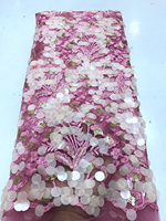 Bling Bling Pink French Tulle Lace Fabric 3D Flower Design African Organza Lace Fabric With Sequin Nigerian Lace For Dress