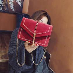 Британская мода простая маленькая квадратная сумка женская дизайнерская сумка 2018 Высокое качество искусственная кожа заклепки кисточка