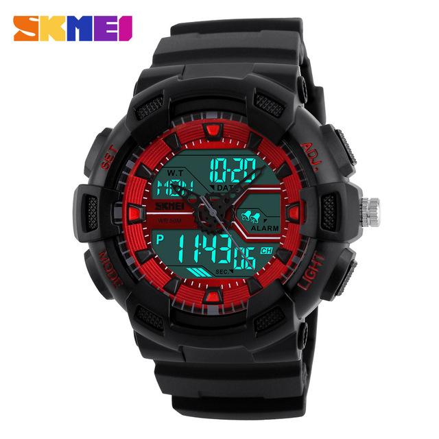 2016 SKMEI Marca de Luxo dos homens Dupla Tempo de Exibição de Esportes Cronógrafo Relógios Homens Digital LED Relógio de Quartzo Man Moda Casual relógio