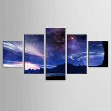 5 panel sky stars landscape canvas mural art home decoration living room printing modern painting XL-FJ (33) -1