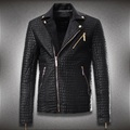 New Men's Slim Short Leather Jackets Men Crocodile pattern Motorcycle Leather Jacket Solid Brand jaqueta de couro masculino #451