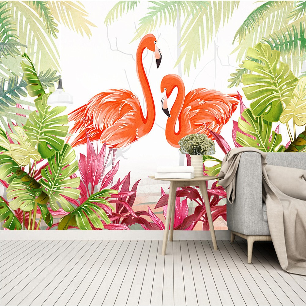 Free Shipping Custom Small Clear Green Leaf Flamingo Tropical Rain Forest TV Background Wallpaper Mural Bedroom Wallpaper 10 20feet 300 600cm photography background boats dock house wallpaper free shipping