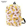 Wiliamganu 2017 mochilas de lona estudante da escola saco de impressão dos desenhos animados mochila pacote de viagem laptop graffiti bolsa mochila escolar