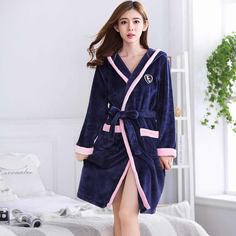 54fc0645b8 Bath Robe Women Winter Warm Coral Fleece Women s Bathrobe Nightgown Kimono  Floral Dressing Gown Sleepwear Female