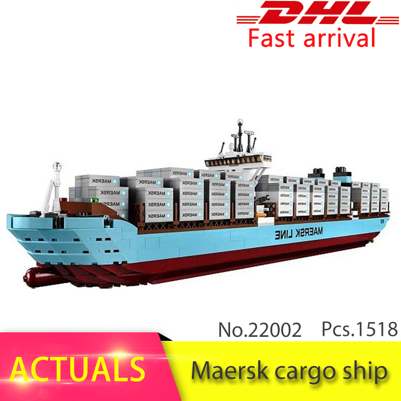 LEPIN 22002 1518Pcs Technic Series The Maersk Cargo Container Ship Set Educational Building Blocks Bricks Model Toys Gift 10241 2017 new 10680 2324pcs pirate ship series the slient mary set children educational building blocks model bricks toys gift 71042