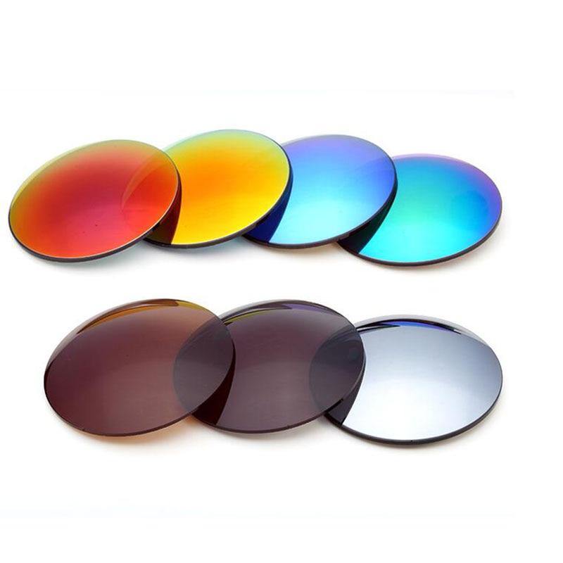 1.61 verres de lunettes colorés miroir à Vision unique SPH-9.00 ~ 0 CYL verres de soleil optiques de haute qualité diamètre de lentille 75mm