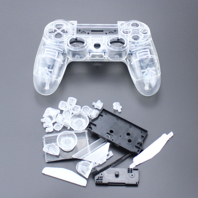 TingDong  for  PS4 V1 Controller Custom Clear Transparent Housing Shell Cover Case Repair Mod Kit For Sony Playstation 4 PS 4 L