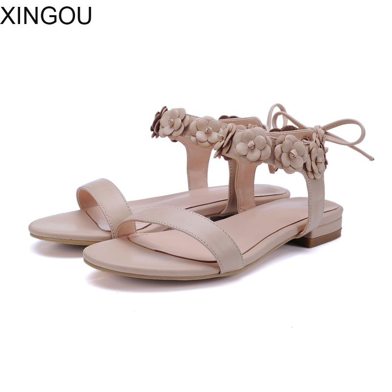 New 2018 summer women sandals European fashion simple flat sandals with flat sandals Ankle-Wrap Leather summer sandal women