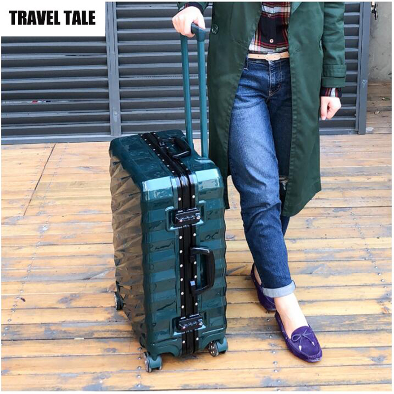 TRAVEL TALE Aluminum frame trolley travel luggage hard side cabine ...