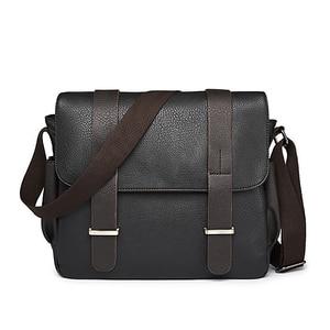 Image 2 - Fashion mens bag PU Leather Shoulder bag men Crossbody Bags For Mens Canvas Business Messenger Bag Men Black Satchels