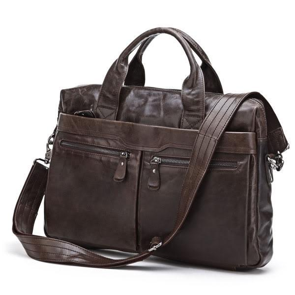 Nesitu Promotion Black / Coffee 100% Guarantee Genuine Leather Briefcase Portfolio Men Messenger Bags #M7122