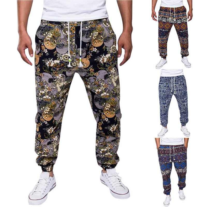 Bohemian Katoen Linnen Broek Mannen Bloemenprint Joggers High Street Herfst Joggingbroek Casual Losse Broek Vintage Pantalon Homme