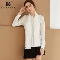 BEIYAYAN Blusas Femininas Bow Tie Neck 100 Real Silk Blouses Long Sleeve Tops Shirts Women