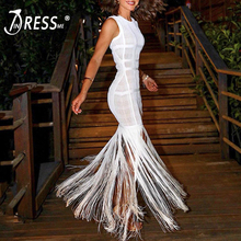 INDRESSME 2019 New Vestidos Women Sexy O Neck Mesh Sleeveless Bodycon Tassels Gown Dress Party Club Summer Fishtail Long