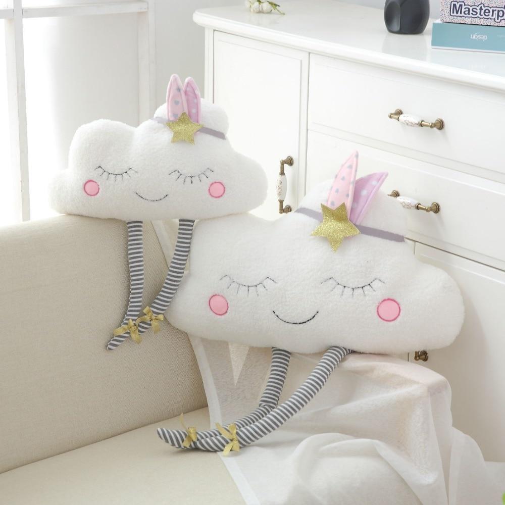 New Arrival Ins Kawaii Cloud Plush Pillow Stuffed Cartoon Soft Cloud Toy Cushion Grils Home Decor Birthday Gift For Children