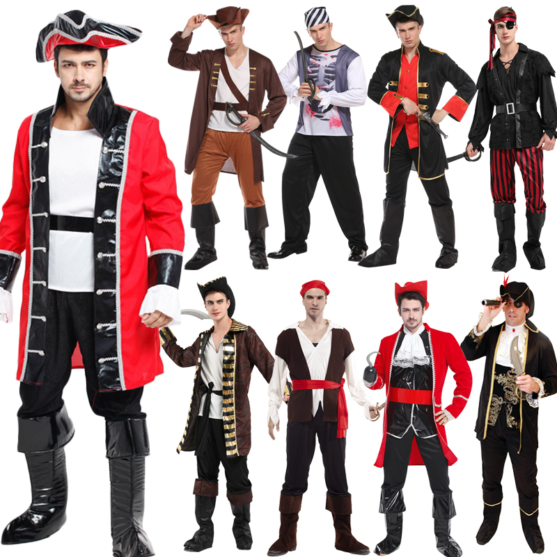 Free Shipping Halloween Cosplay Costume Captain pirates caribbean Jack Sparrow Pirate fantasia Adult Women Men Fancy Carnival