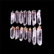 الجملة 12 قطعة/الوحدة جوهرة الحجر الطبيعي غير النظامية واضح الكوارتز الأبيض كريستال نقطة قلادة البندول ل قلادة شحن مجاني