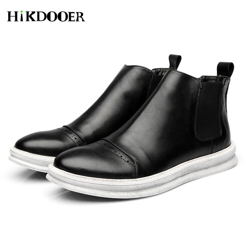 New Men Chelsea Boots Genuine Leather Shoes Round Toe Top Quality Slip-on Sewing Ankle Boots Male Casual Boots moccasins