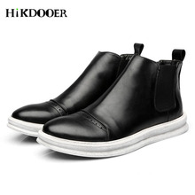 New Men Chelsea Boots Genuine Leather Shoes Round Toe Top Quality Slip-on Sewing Ankle Boots Male Casual Boots moccasins цена