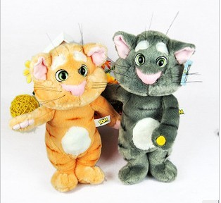 3pcs Free Shipping Plush and Stuffed Talking Cat,Speaking The Animal,Repeat What You Say In 10 Seconds,35cm