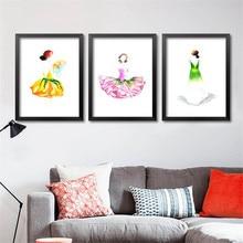 Flower Fairy Fashion Illustration Modern Design Trendy Flowers Skirt Nursey Little Girl Room Wall Decor Art Prints Poster