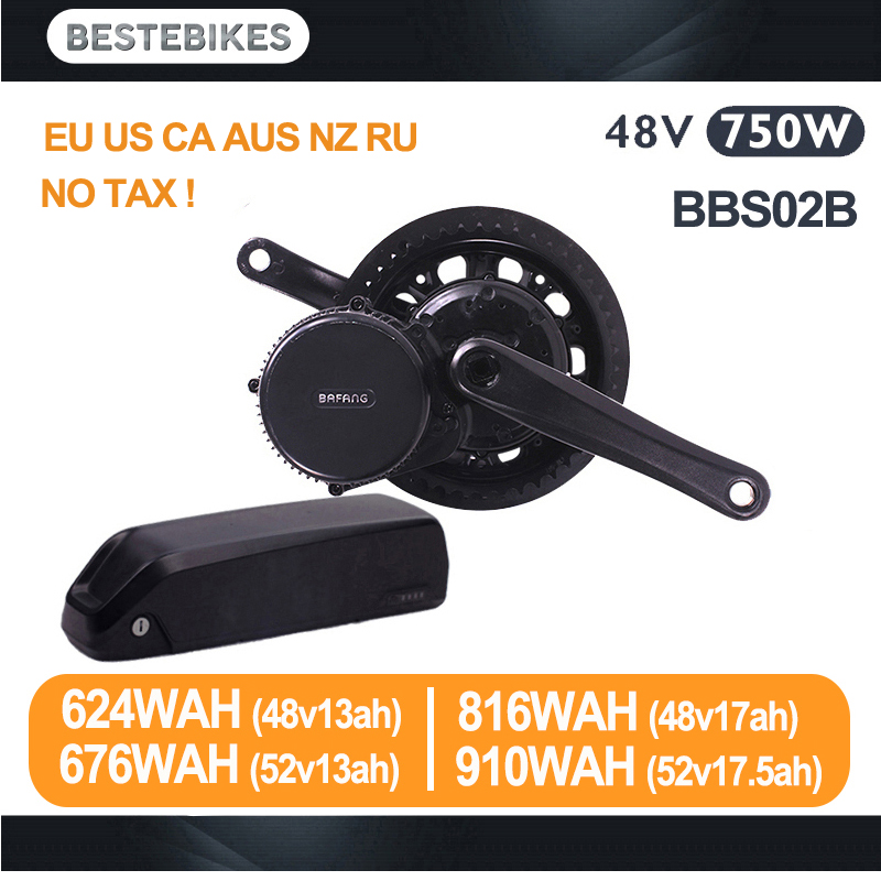 Двигатель bafang BBS02B 48 V 750 w Электрический велосипед conversion kit batterie вело 48 v батареи BBS02 48v13/17ah 52v13/17.5ah ЕС США нет налога