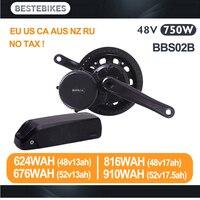 Bafang мотор BBS02B 48 В 750 Вт Электрический велосипед conversion kit batterie вело 48 В батареи BBS02 48v13/17ah 52v13/17.5ah ЕС США нет налога