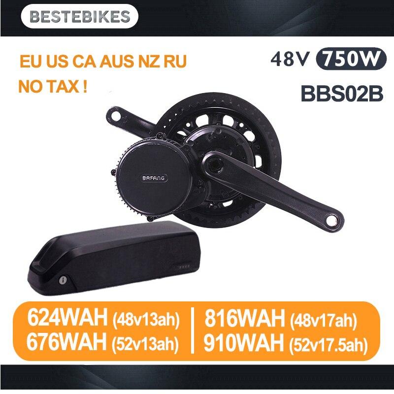 Bafang motor BBS02B 48 V 750 w bicicleta eléctrica kit de conversión de batería velo de batería 48 v BBS02 48v13/17ah 52v13/17.5ah de la UE NO nos impuestos