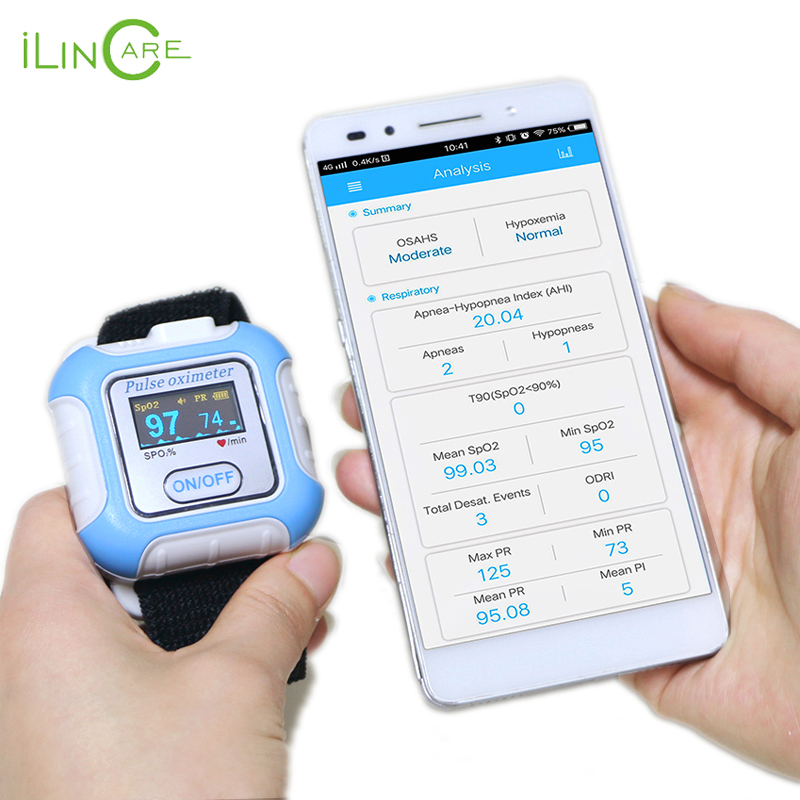 Handgelenk puls meter Bluetooth pulsoximeter SPO2 oximetro de dedo tragbare sauerstoff geräte sleeping Apnea screener pulsioximetro