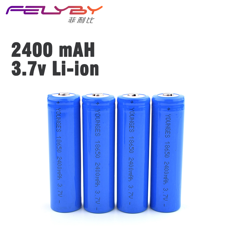 4 pcs / lot Original 18650 Li-ion 2400 mAh 3.7V Lithium Battery 18650 Rechargeable Battery For laser pointers, 18650 flashlights
