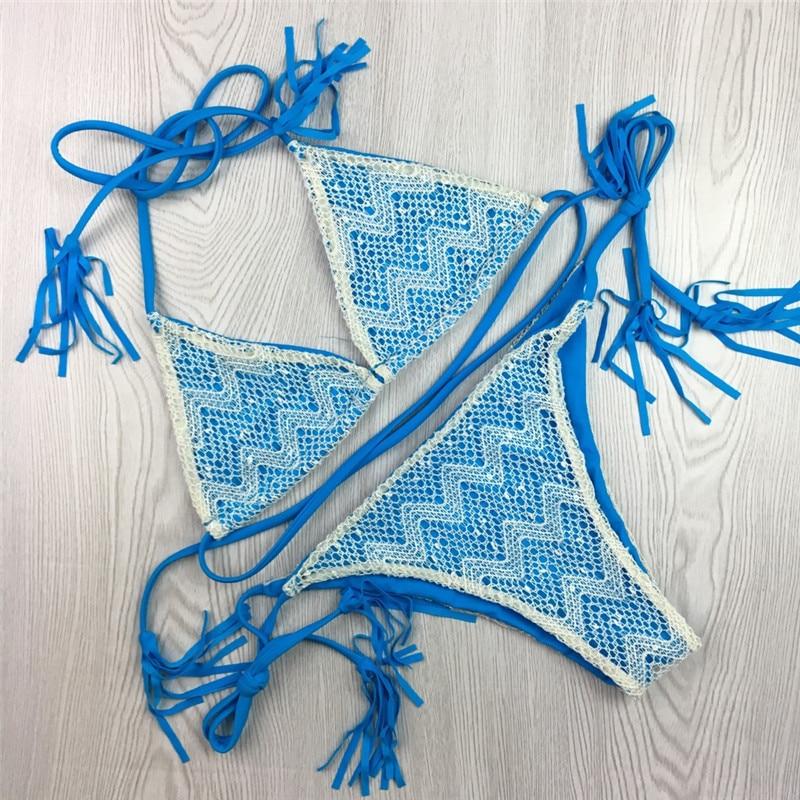 Muti Rəngli Crochet Krujeva Bikini 2019 Qadın Halter String Mayo - İdman geyimləri və aksesuarları - Fotoqrafiya 3