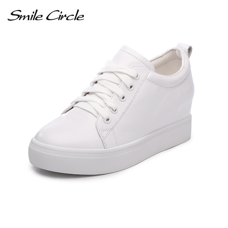 Smile Circle 2018 Spring Genuine Leather Sneakers Casual Women for shoes Fashion Lace-up Flat Platform Shoes Girl White Shoes smile circle spring autumn women shoes casual sneakers for women fashion lace up flat platform shoes thick bottom sneakers