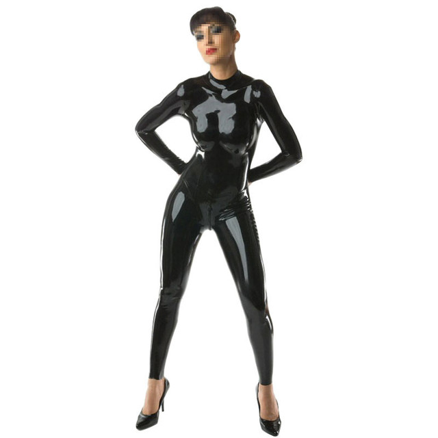 42d3097cb Fashion Women Latex Catsuit with Back Zipper Under Crotch Black ...