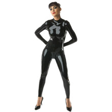 Fashion Women Latex Catsuit with Back Zipper Under Crotch Black Natrual Rubber Maillot Plus Size Hot Sale