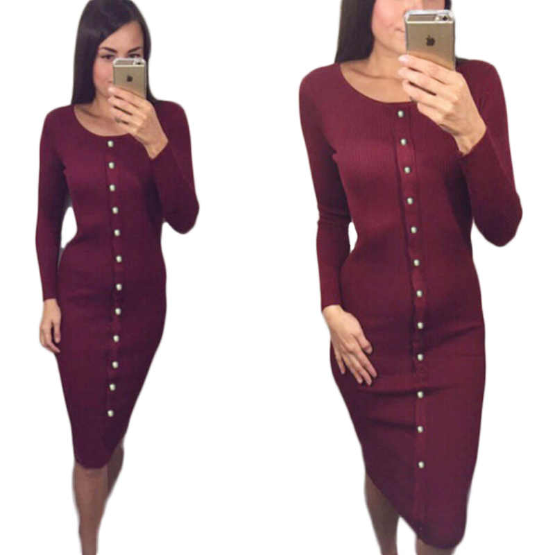Women s Winter Dress Autumn Sexy Women Knitted Slim Midi Dresses Package  Hip Sheath Bodycon Dress Robes 55c9bc7c6