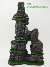 Mr.Tank Large Aquarium Rockery Ornament Resin Rock Mountain View Landscape Pet Fish Hiding Escape Holes Decorations