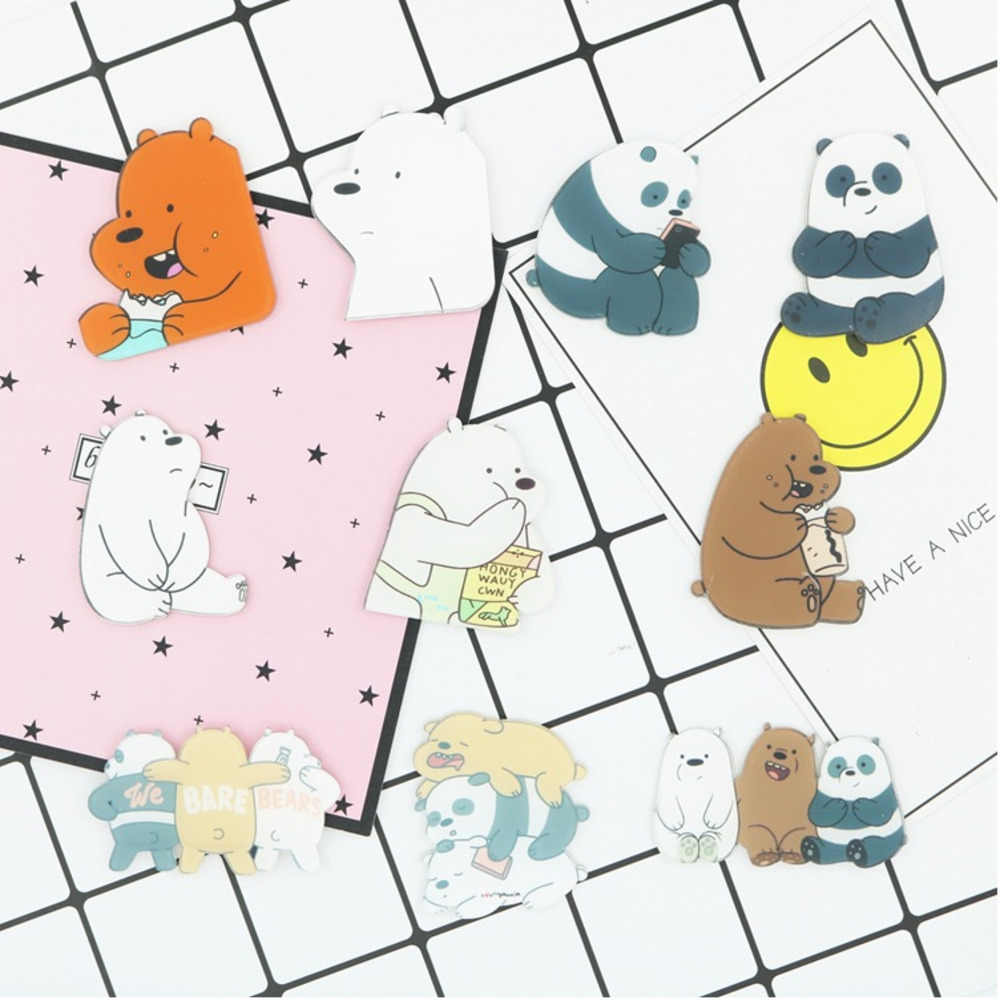 PGY 1PCS Animal Cartoon Pin Bare Bears Cute Grizzly Panda Ice Bear denim  Kawaii Lapel Brooches wholesale badges Fashion Gifts