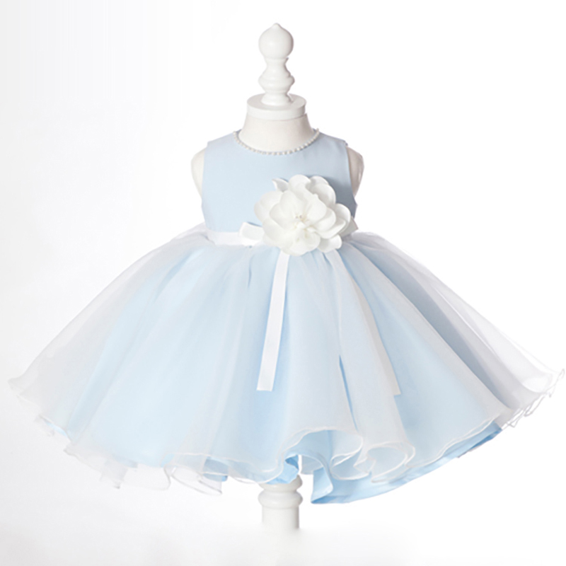 2017 Flower Girls Dresses For Wedding Pageant Prom Party Blue Dress Baby Kids Clothes Little Toddler Children Vest Dress