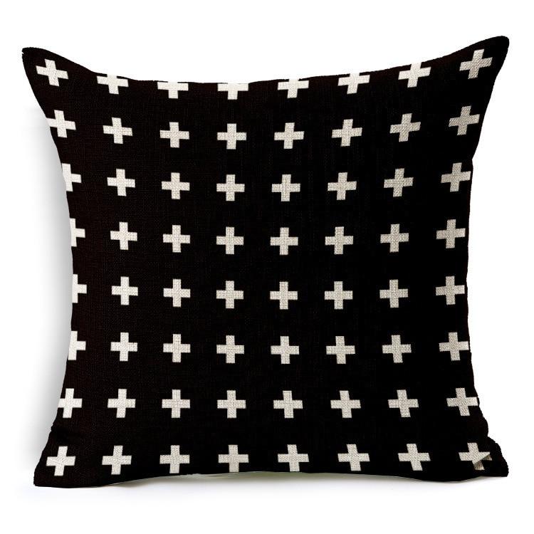 U-miss Geometric Decorative Cotton Linen Cushion Cover Grey Grid Printed Sofa Throw Pillow Car Chair Home Decor Pillow Case