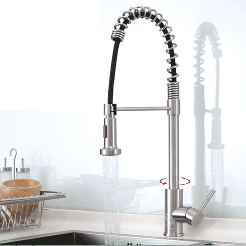 304 stainless steel spring drawing type kitchen faucet