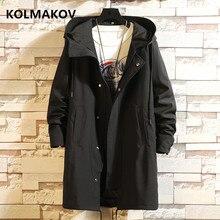 KOLMAKOV Trench Coats Men 2020 Men's cotton Casual Trench Coat M-6XL Hooded Windbreakers Male Waterp