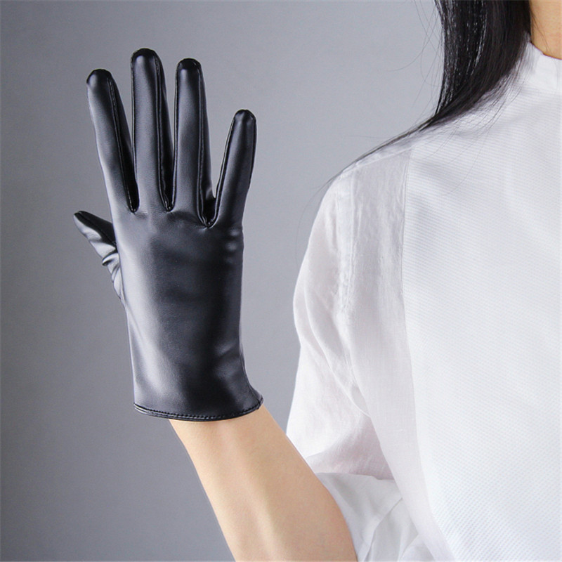 Environmental Protection PU Leather Gloves Short Style 21cm Women Gloves Synthetic Leather PU Unlined Female Mittens P03 in Women 39 s Gloves from Apparel Accessories