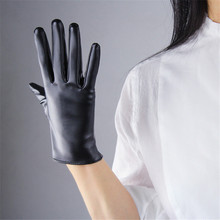 Environmental Protection PU Leather Gloves Short Style 21cm Women Synthetic Unlined Female Mittens P03