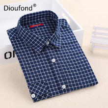 Dioufond Pockets Plaid Women's Blouses Casual Cotton Blusas Femininas Women's Shirts With Long Sleeves Blouse Button Ladies Tops