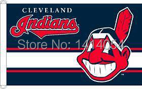 Cleveland Indians with modified Flag 150X90CM MLB 3x5 FT Banner 100D Polyester flag grommets 09, free shipping